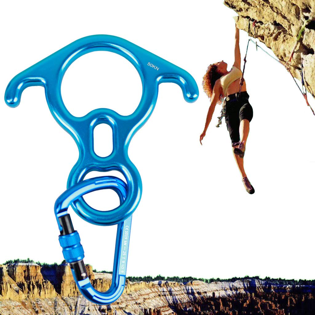 Geelife 50KN Rock Climbing Terminal Figure 8 Descender Rescue Belay Device Stop Descender and Carabiner Rock Rappelling Gear