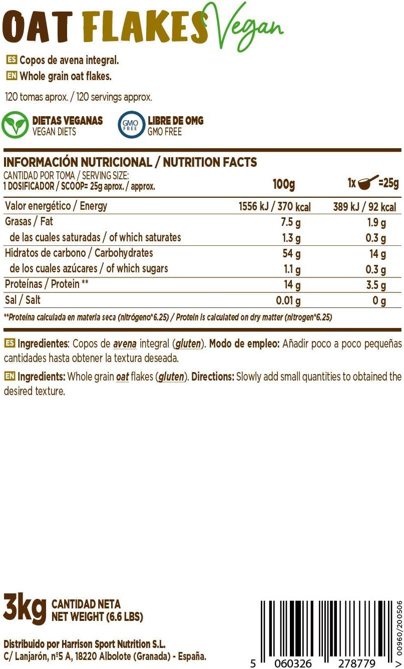 Copos de Avena Integrales Finos de HSN | Oat Flakes | Cereal con Proteínas, Carbohidratos de Lenta Digestión y Ácidos Grasos Esenciales | Aporte de ...