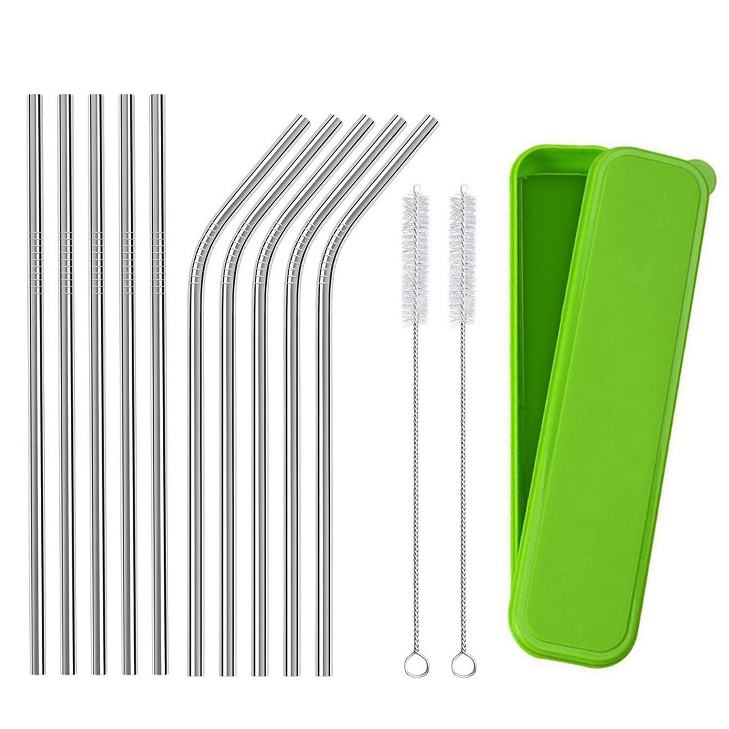Stainless Steel Straws,Portable Storage Box Reusable Drinking Straws with Cleaning Brushes (5 Straight + 5 Bent + 2 Brushes)