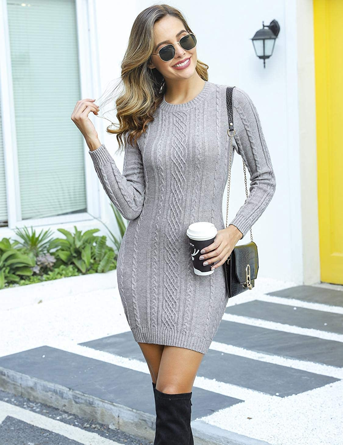Akalnny Womens Jumper Dress One-Piece Knitted Dress Long Sleeve Slim fit Sweater Ladies Round Neck Dress