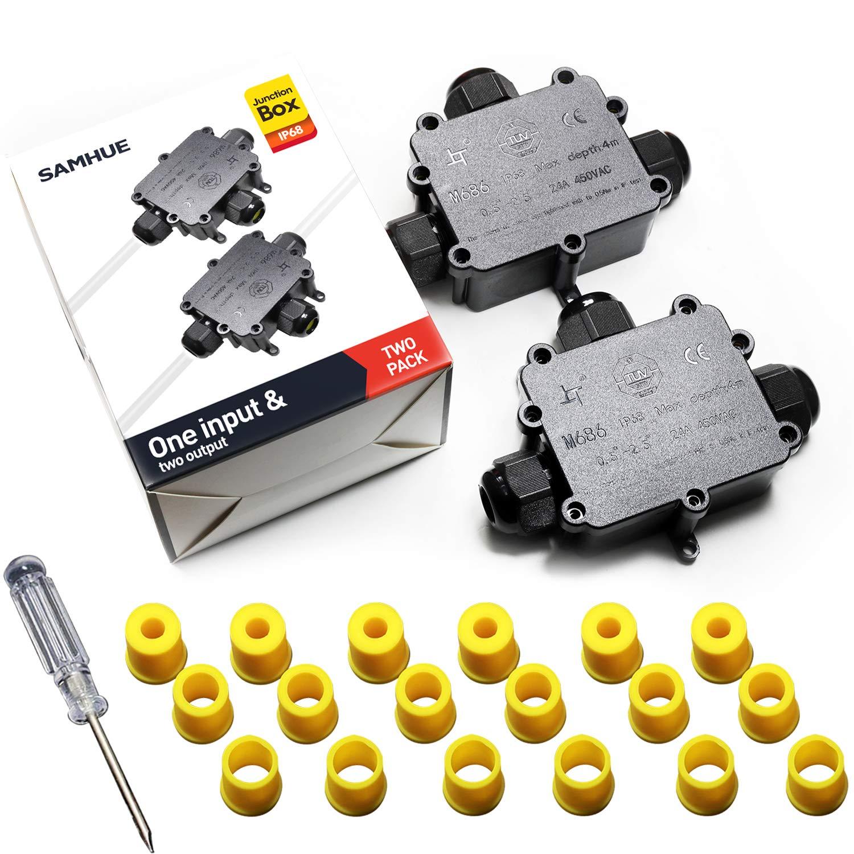 SAMHUE Bo/îte de jonction IP68 Connecteurs de c/âble /à 3 voies /étanches Bo/îtier de jonction /électrique ext/érieur//ext/érieur /Ø 4mm-14mm Lot de 4