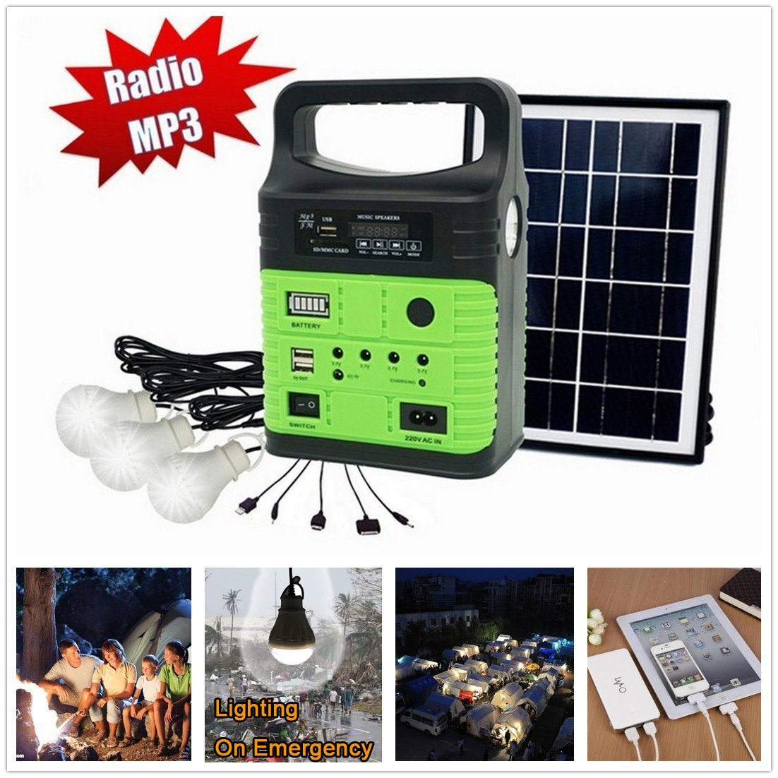 10-Watt Solar Generator Portable kit,Power Inverter,Solar Generator System for Home & Camping,9000mAh Rechargeable Battery Pack UPS Power Supply, Included 6 Watt Solar Panels by Wegner