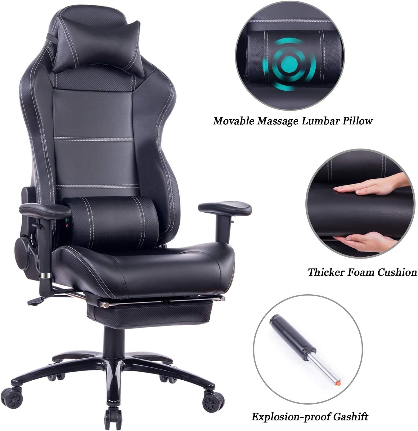 HEALGEN Reclining Gaming Chair with Adjustable Massage Lumbar Pillow and Footrest- Memory Foam PC Computer Racing Chair - Ergonomic High-Back Desk Office Chair (8263Black)