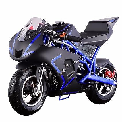 V V-FIRE VALUABLE GOODS TO FIRE YOU UP 4-Stroke 40CC Kids Gas Pocket Bike  (EPA Registered), Blue/Black