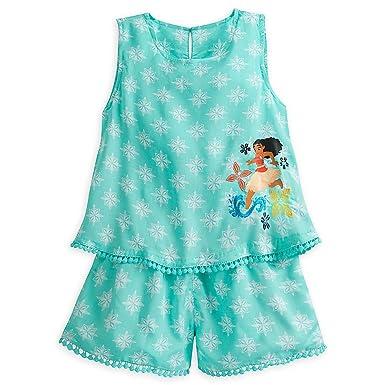 39776dac239 Amazon.com  Disney Moana Woven Romper for Girls Blue  Clothing