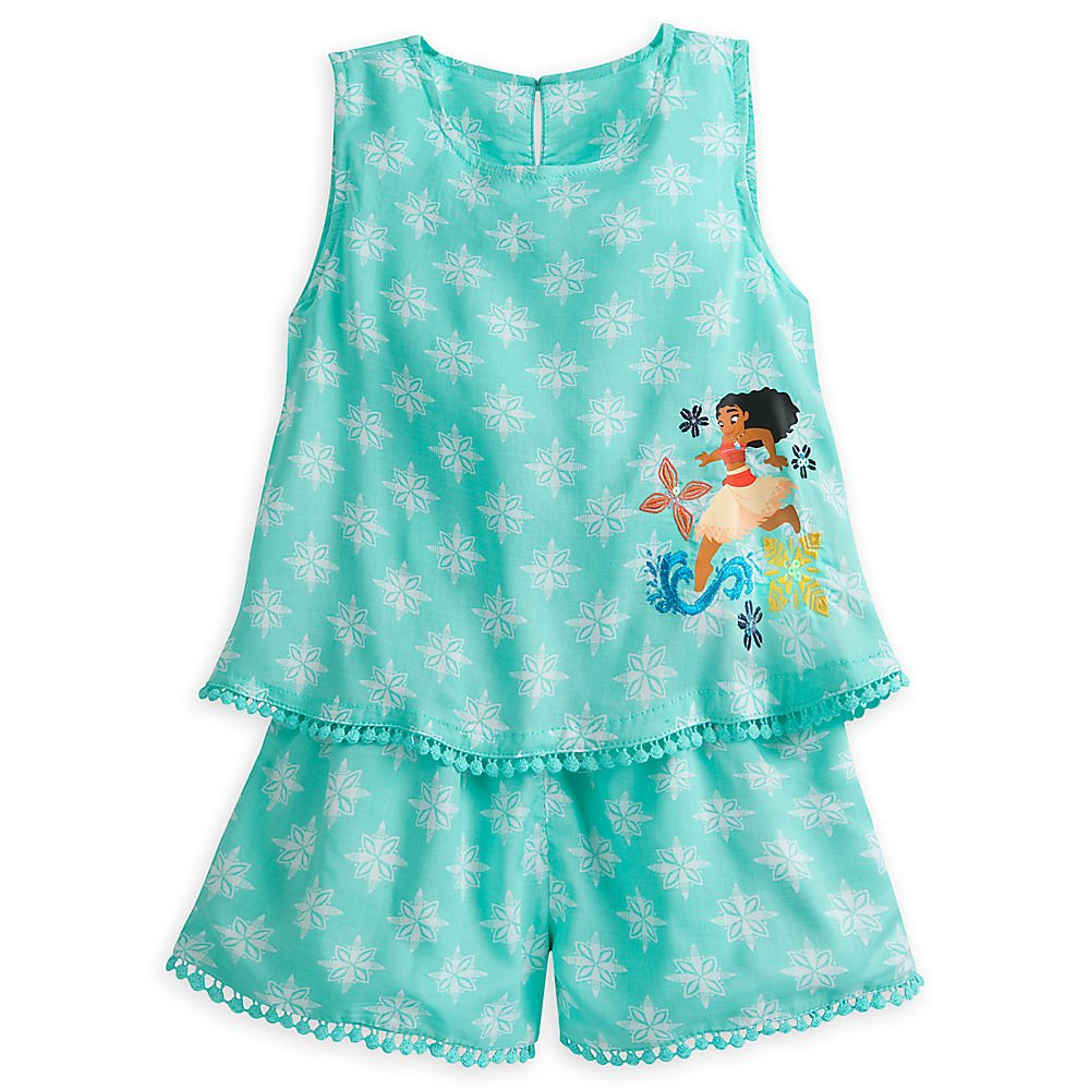 Disney Moana Woven Romper For Girls Size 4 Blue