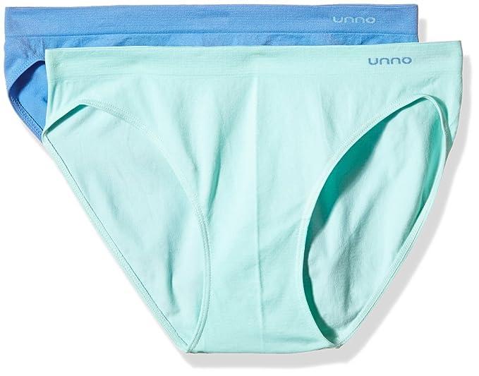 Unno AUUM301, Braga Baja Sin Costuras Para Mujer, Pack de 2, Verde Agua