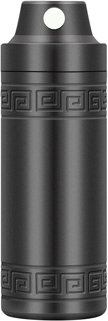 Airtight Stash Jar, Smell Proof Aluminum Alloy Outdoor Survival Waterproof Container for Herbs, Matches, Pills, Battery, Cash, Survival Fishing Kits (Gray)
