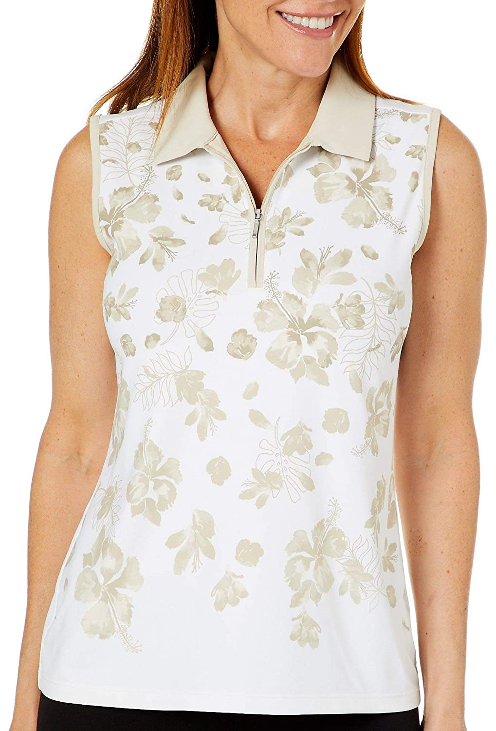 Coral Bay Golf Womens Sleeveless Tropical Floral Polo Shirt X Large