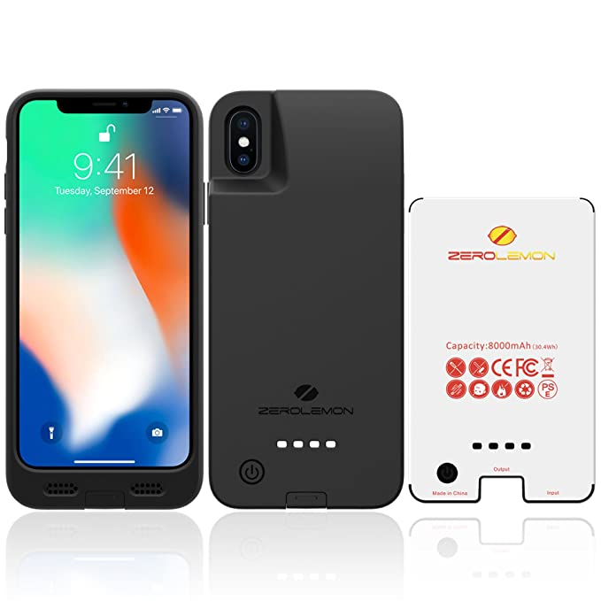 uk availability ea9ee d1bf2 iPhone X/ XS Battery Case, ZeroLemon iPhone X/ XS 8000mAh Rugged Juicer  Extended Battery Case Rechargeable Charging Case for iPhone X/ XS [Apple ...