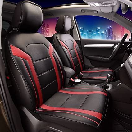 FH Group Leatherette Red And Black Car Seat Cushions PU208RED102 Set Of 2 Airbag Compatible PU208REDBLACK102
