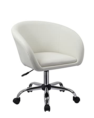 Duhome Luxury PU Leather Contemporary Salon Stool With Wheels Home Office Chair  Round Swivel Accent Chair