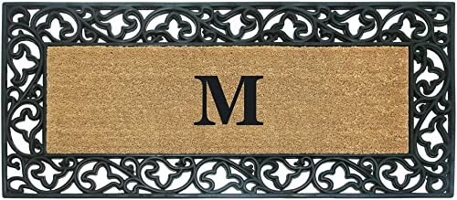 Nedia Home Acanthus Border with Rubber Coir Doormat, 24 by 57-Inch, Monogrammed M