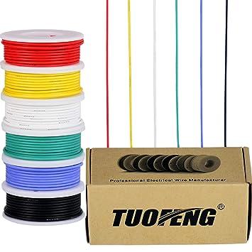 Cable eléctrico calibre 22, cable de cobre estañado 22 AWG Cable flexible de silicona (6 bobinas de 8 colores diferentes) 600V Cable electrónico de ...