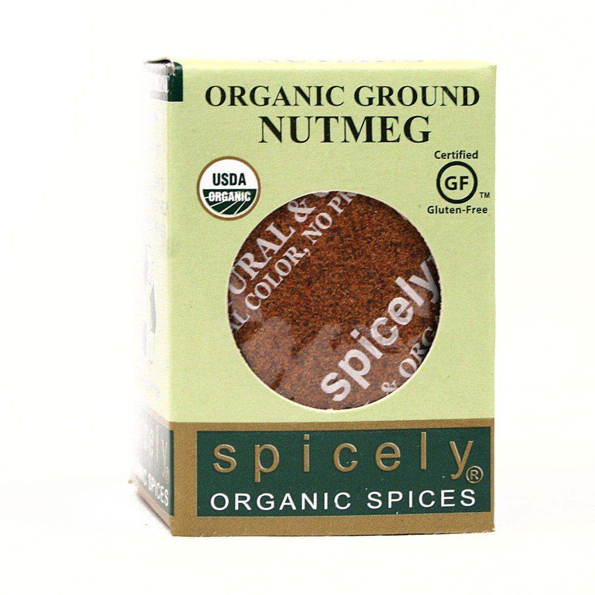 Spicely Organic Nutmeg Powder 0.40 Ounce ecoBox Certified Gluten Free