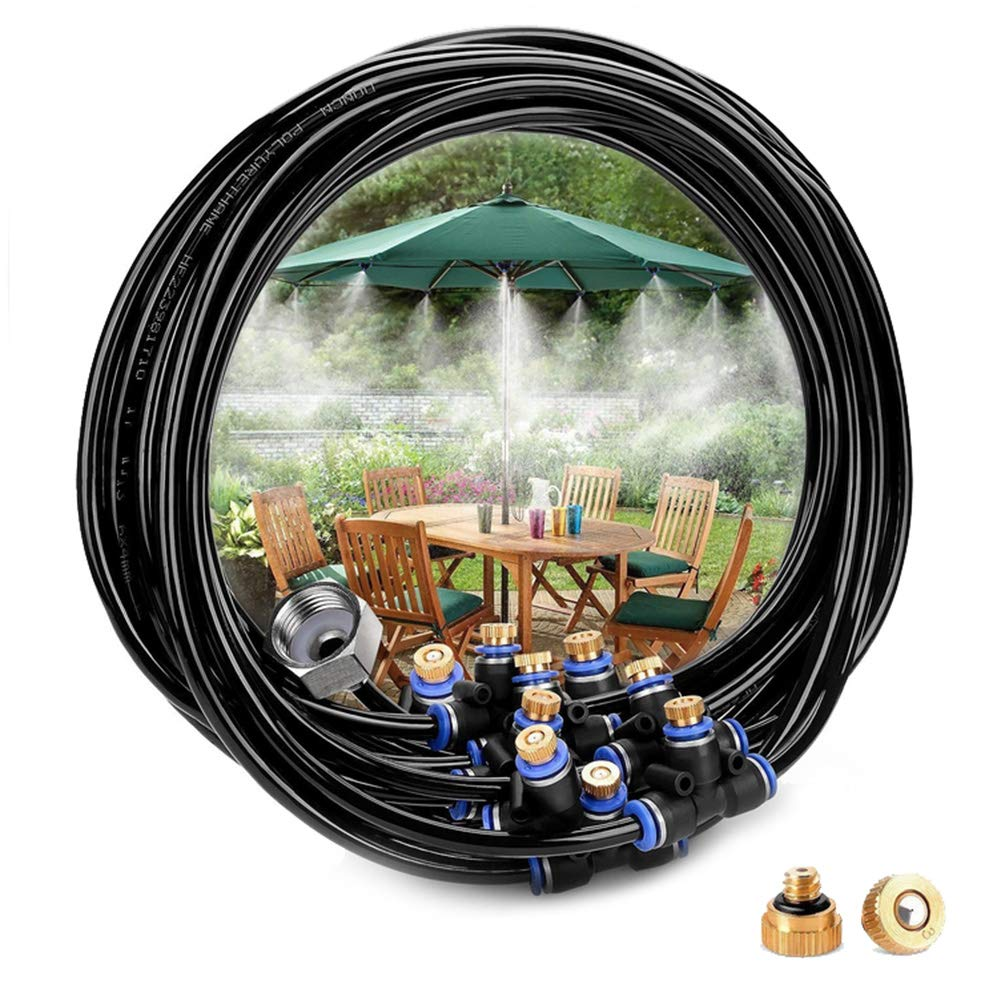 Misting System, Outdoor Misting Cooling System Brass Spray Nozzles Brass Adapter Hose for Patio Garden Umbrellas Greenhouse Trampoline(3/4'' 75.46ft 34 Nozzles) by Hongzer