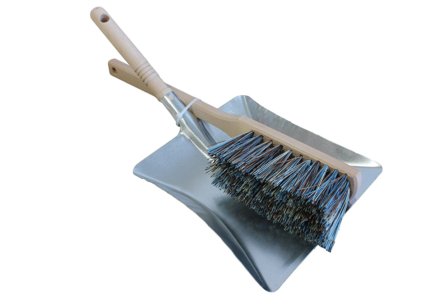 Brushmann Dustpan Hand Shovel and Long Handle Hard Bristle Brush Set (Green)