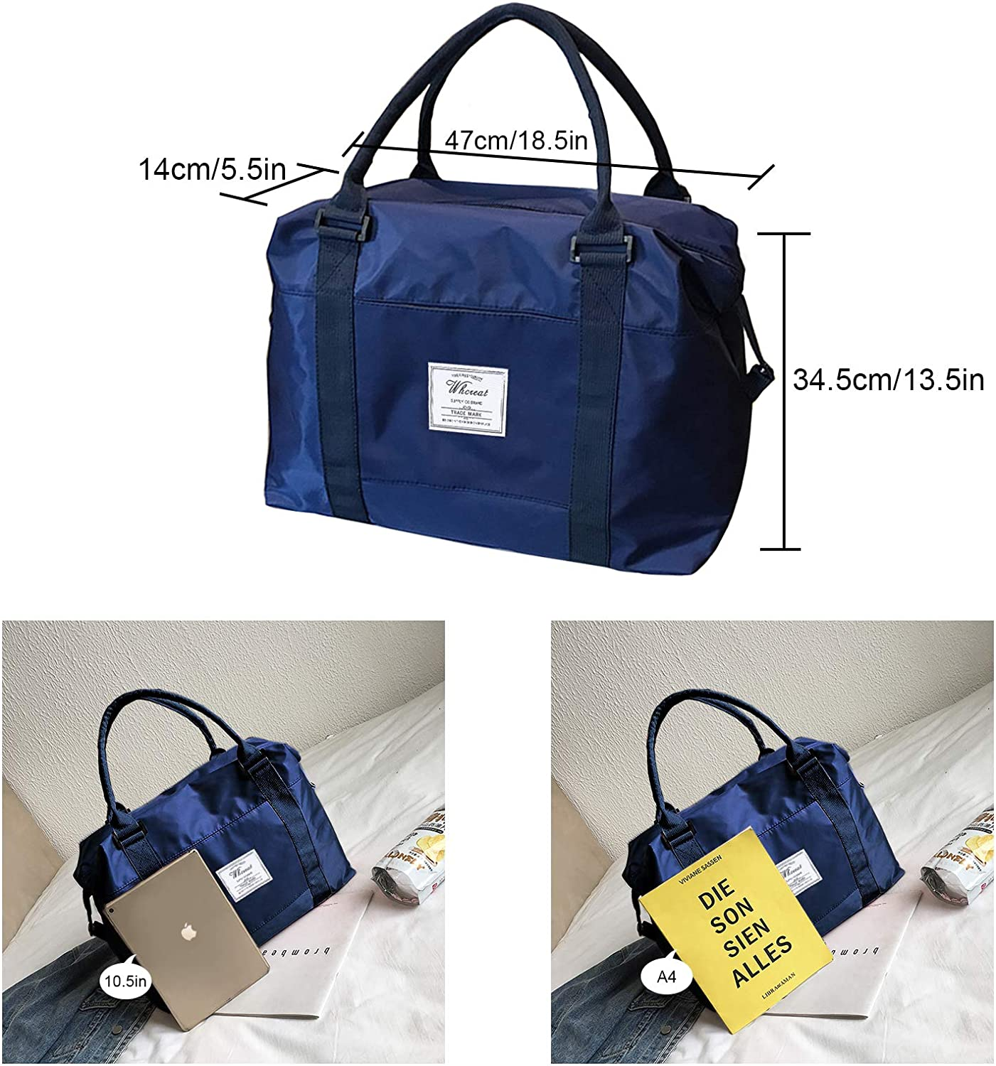 Darkblue WHCREAT Sports Gym Bag with Wet Pocket and Trolley Strap Water Resistant Travel Duffle for Men Women
