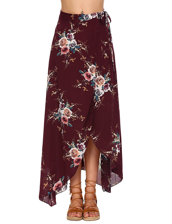 FISOUL Womens Boho Floral Summer Skirt High Waist Cover up Wrap Long Maxi Skirt Wine Red M