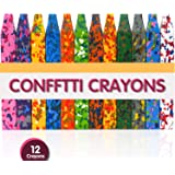 PuTwo Crayons 12pcs Washable Crayons with Square Design Safe & Non-Toxic Funny Confetti Crayon Toys for Toddlers Kids Children Adult Drawing Crayon for Crafts Arts Painting Coloring - Multicolor