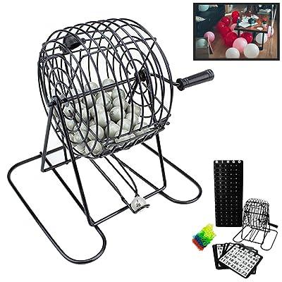 Deluxe alambre jaula bolas de juego de Bingo tarjetas juego de mesa bolas chips 18 reproductor Junta: Oficina y papelería