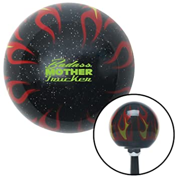Green Greece American Shifter 234353 Clear Flame Metal Flake Shift Knob with M16 x 1.5 Insert