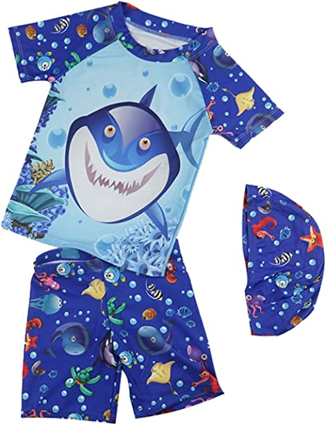 Baby Toddler Boy Two Piece Rash Guard Swimsuits,UV Sun Protection Short Sleeve Sunsuit Swimwear Sets