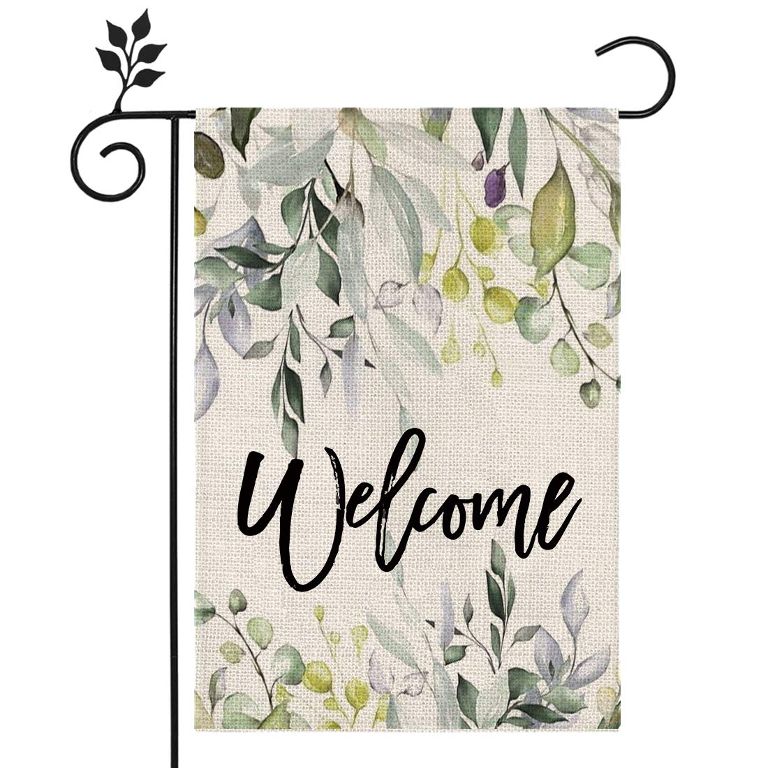 CROWNED BEAUTY Spring Floral Welcome Garden Flag 12×18 Inch Small Vertical Double Sided Seasonal Outside Wedding Décor for Yard Farmhouse CF097-12