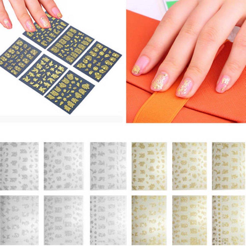 Amazon com yuye 12 sheets luxury flower nail art sticker women manicure nail tip diy decoration gold1 beauty