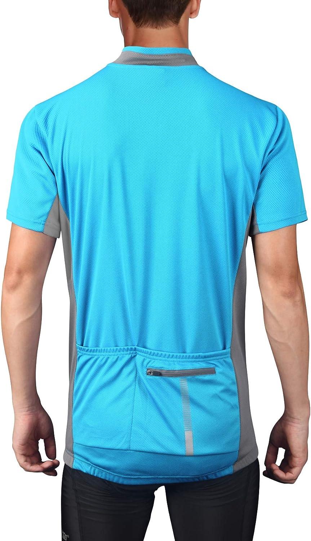 bpbtti Mens Cycling Jersey Short Sleeve MTB Bike Biking Shirts with Half Front Zipper /& 3-Rear Pockets