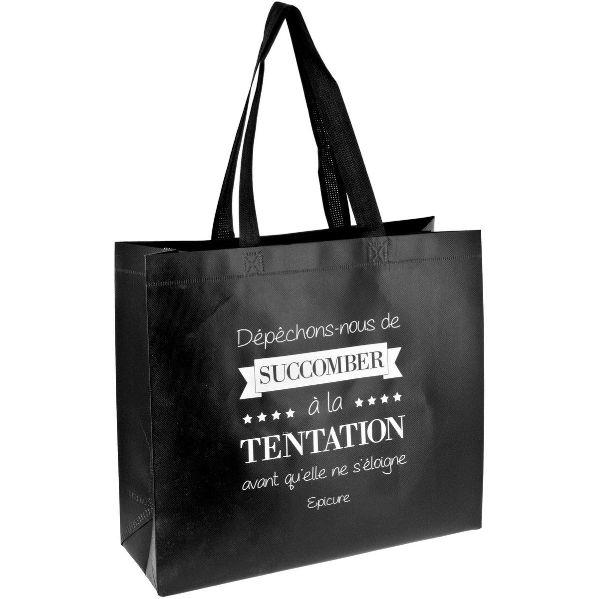 Promobo Sac Pour Course Shopping Cabas Citation Succomber A La Tentation Noir cabsuccomber
