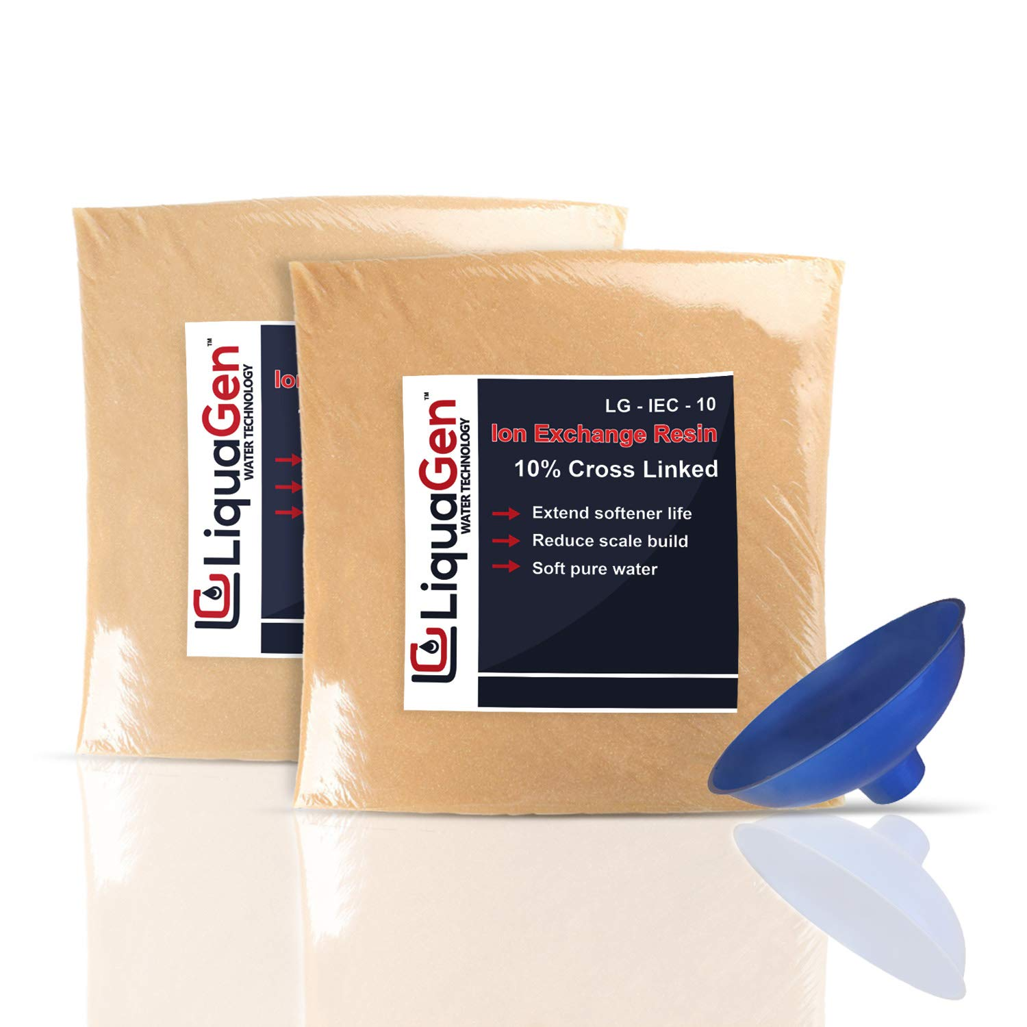 1.5 Cubic Feet of Water Softening Ion Exchange Resin Cation + Resin Loading Funnel by LiquaGen