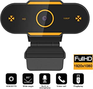 Full HD1080P Webcam with Microphone, Auto Focus Web Camera for Studying Online, Recording, Video Calling, Conference, USB PC Webcam Work with Laptop Desktop YouTube Skype Facebook FaceTime