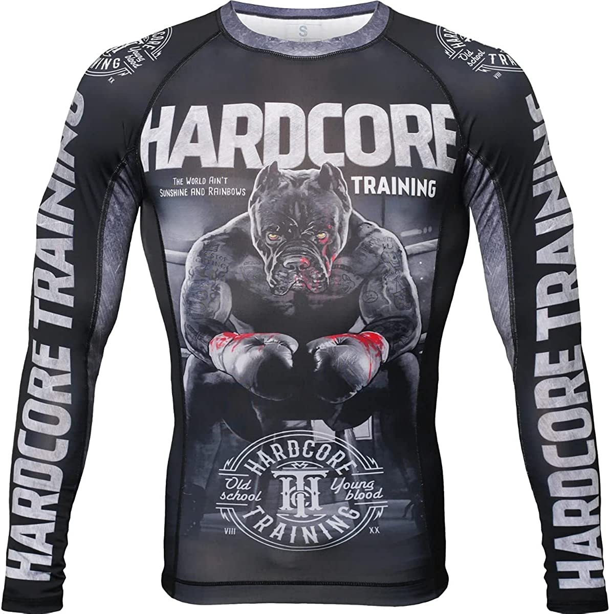 Hardcore Training Ground Shark The Moment of Truth Mens Rash Guard Compression Long Sleeve MMA No-Gi Tight BJJ Grappling Base Layer Fitness