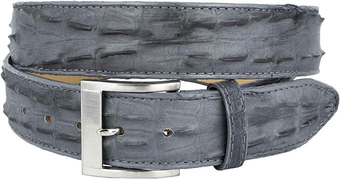 Made in U.S.A Genuine Alligator Tail Cognac Leather Belt