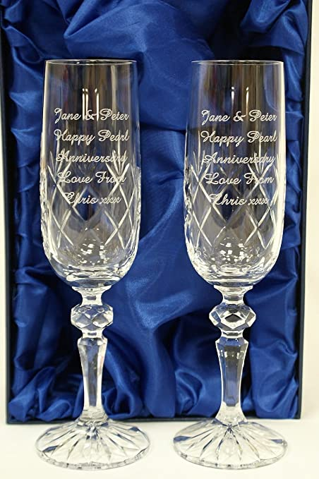 Engraved Personalised Pair Of Crystal Champagne Flutes Glass Gift