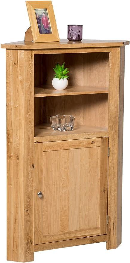 Waverly Oak Medium Bathroom Living Room Tall Corner Display Unit Cupboard Cabinet With Adjustable Shelves Amazon De Home Kitchen