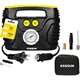 Kensun Portable Air Compressor Pump for Car 12V DC and Home 110V AC Swift Performance Tire Inflator 100 PSI for Car - Bicycle