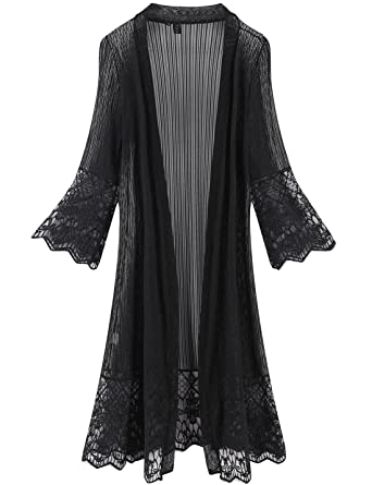 40bbc4e62f Tanming Flare Sleeves Open Front Lace Splicing Long Kimono Cardigan Cover  Ups (X-Small