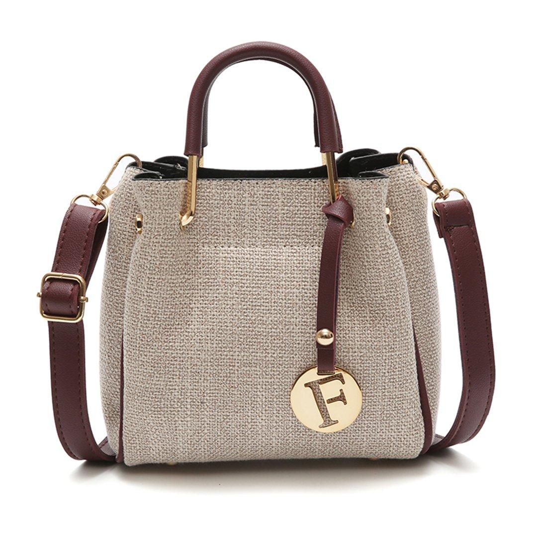 Women's Tote Bags Linen 2 In 1 Handbags Shoulder Bags 2 PCS Satchel Purse(1391Wine Red)