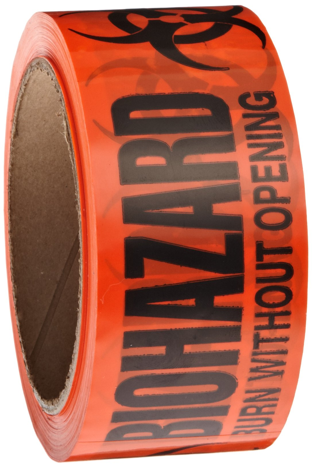 Roll Products 142-0007 PVC Film Biohazard Warning Tape with Black Imprint, Legend ''Biohazard - Burn Without Opening'' (with Logo), 55 yd. Length x 2'' Width, 3'' Diameter Core Roll, for Identifying and Marking, Fluorescent Red/Orange
