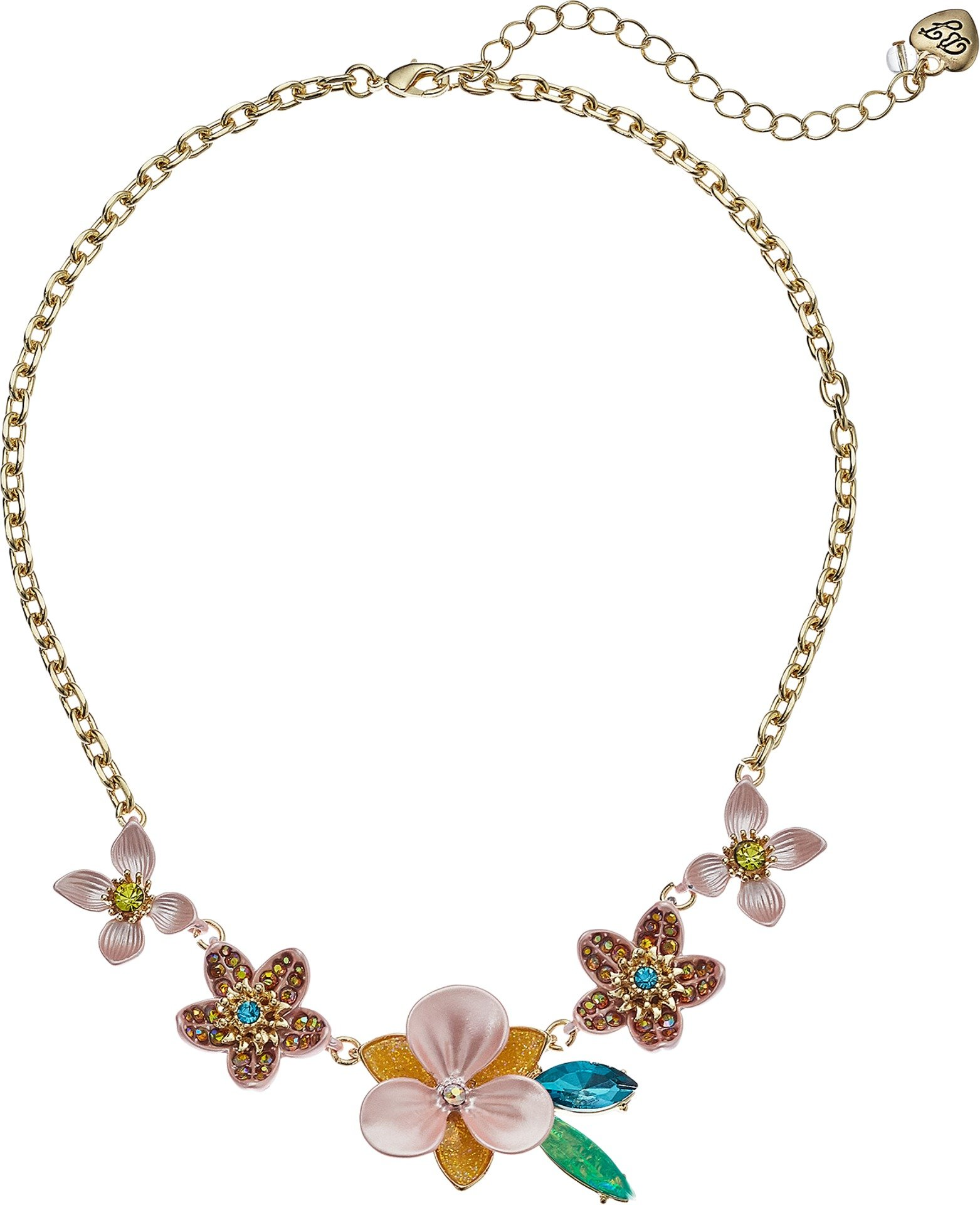 Betsey Johnson (GBG)) Paradise Lost Women's Pink And Yellow Flower Frontal Strand Necklace, One Size