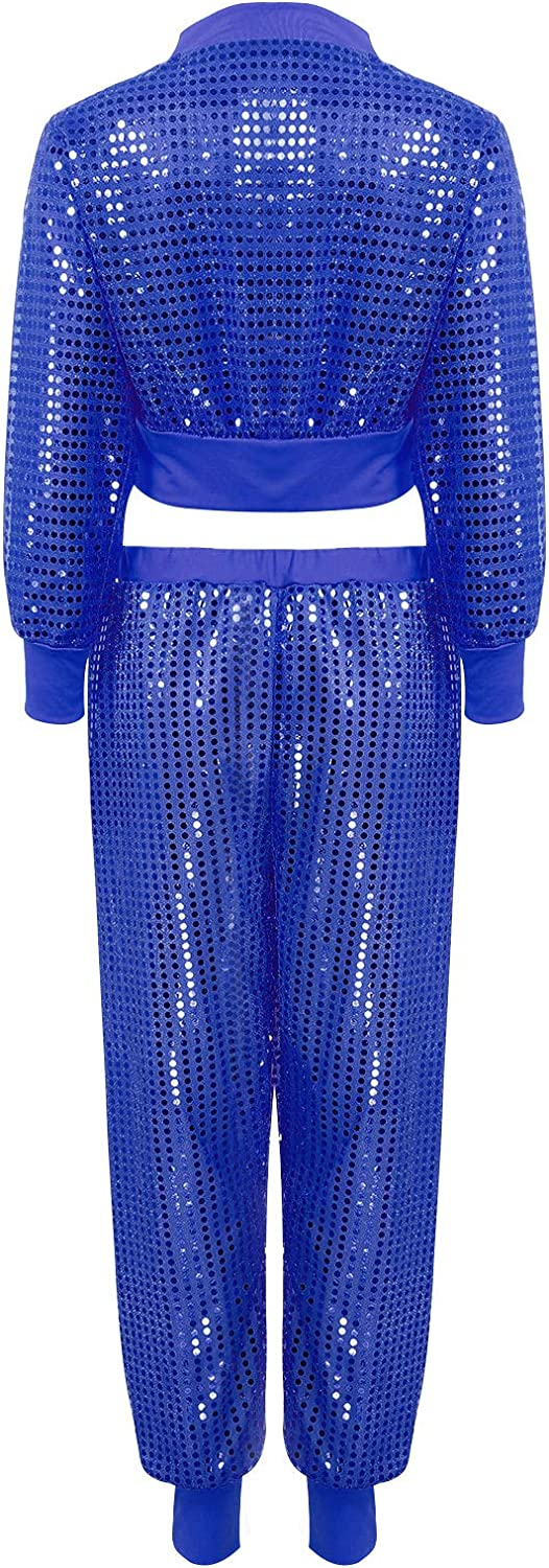 moily 2Pcs Womens Shiny Sequins Hip Hop Street Dance Suit Girls Long Sleeves Blouses with Harem Pants