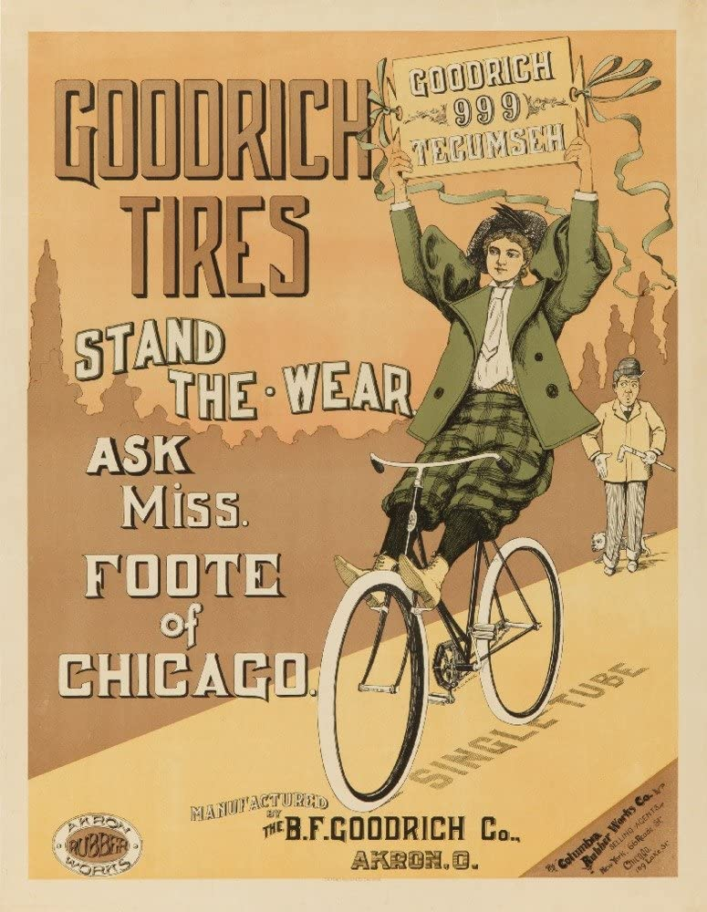 Amazon Com Goodrich Tires Miss Foote Vintage Poster Usa C 1895 16x24 Fine Art Giclee Gallery Print Home Wall Decor Artwork Poster Posters Prints