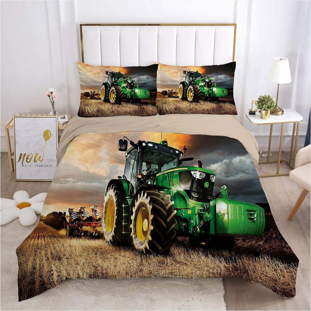 Double Facile /À Nettoyer,I-SuperKing260/×220cm YIWANGO Tracteur Sets De Housses De Couettes Fermeture /À Glissi/ère Ensemble 3 Pi/èces Parure De Lit 220x240 Adulte Polyester Single