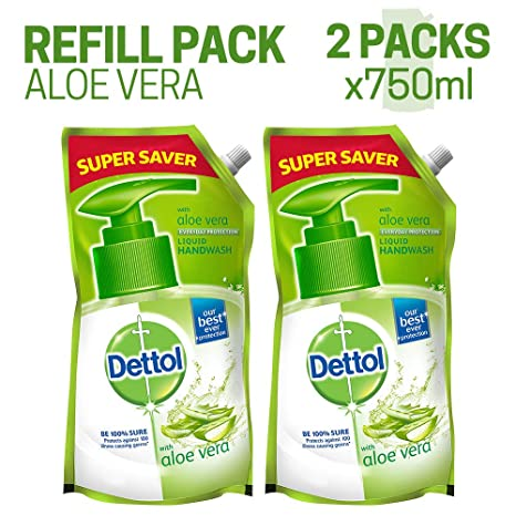 Dettol Germ Protection pH-Balanced Liquid Hand Wash Refill, Aloevera - 750 ml (Pack of 2, Special Price Off)