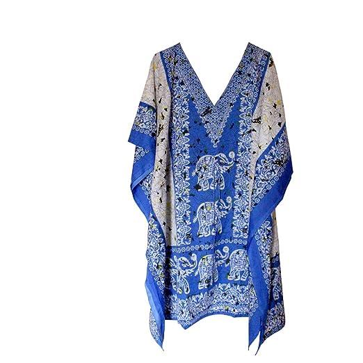 0413ddac987a4 Image Unavailable. Image not available for. Color  Short Blue Elephant  Kaftan Women s Plus Size Top Poncho Dress Beach ...