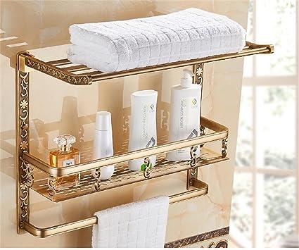 TRRE@ Mensole Per Bagno A 2 Ripiani Pieghevoli In Alluminio Antico Con  Porta Asciugamani,