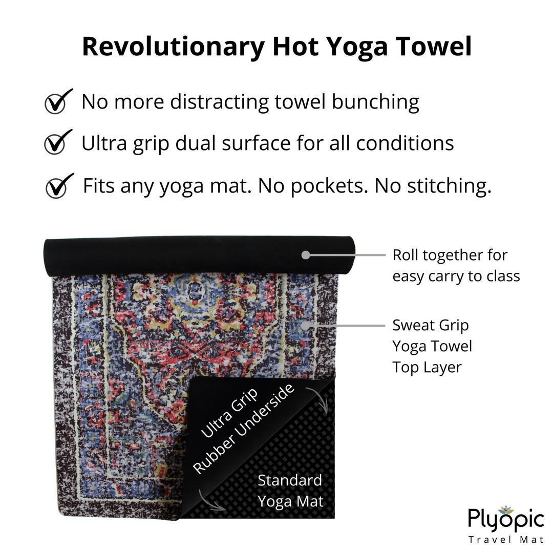 Plyopic Esterilla de Yoga para Viajes | Colchoneta/Toalla de Lujo 3-en-1 Plegable | Antideslizante Reversible para Yoga, Pilates, Fitness y Ejercicio ...