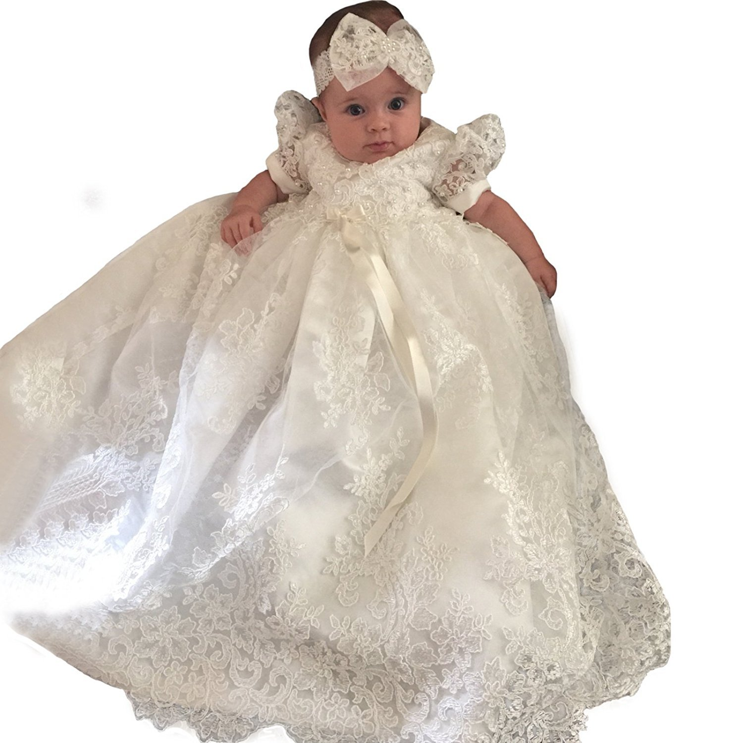 Christening Gown Baby Girl Lace Toddler Dedication Dress for Age 3-24 months CB